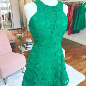 Adelyn Rae Woven Lace Green Fit & Flare Dress